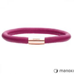 Damska bransoletka ze skóry naturalnej w kolorze różowym