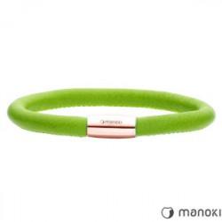Damska bransoletka ze skóry naturalnej w kolorze zielonym