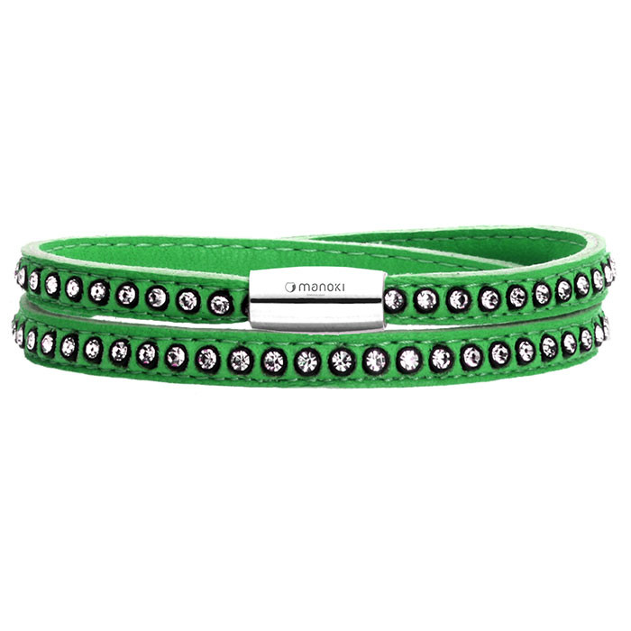 Damska bransoletka ze skóry z kryształami Swarovskiego, zielona