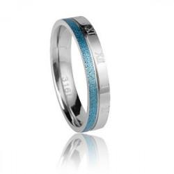Damska obrączka srebrno-niebieska, stal szlachetna