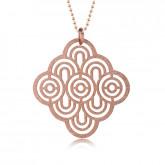 Damski, ażurowy naszyjnik w kolorze różowego złota