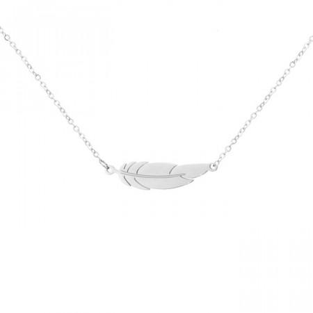 Damski naszyjnik z piórkiem, kolor srebrny