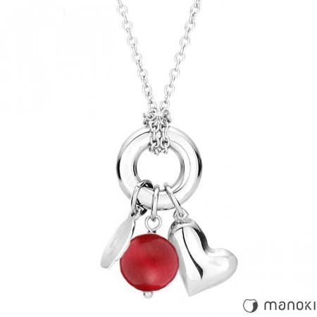 damski naszyjnik z symbolem karmy, serce z jadeitem