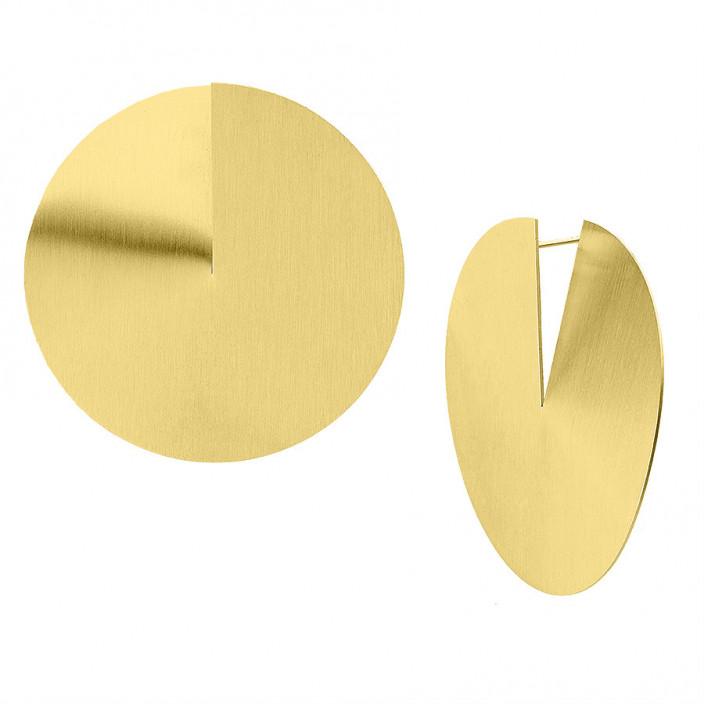 Duże kolczyki satynowane dyski złote