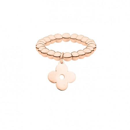 Elastyczna obrączka w kolorze różowego złota, kwiat, koniczyna