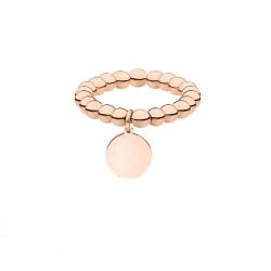 Elastyczna obrączka z kuleczek z medalikiem, różowe złoto