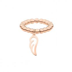 Elastyczna obrączka z kuleczek z piórkiem, różowe złoto