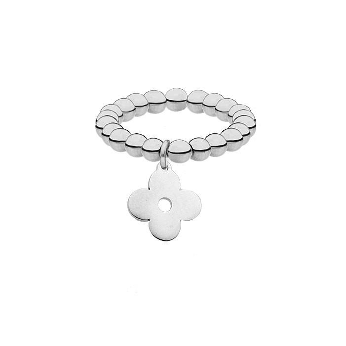 Elastyczna srebrna obrączka, kwiat, koniczyna