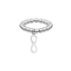 Elastyczna, srebrna obrączka z kuleczek z motywem nieskończoności