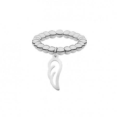Elastyczna srebrna obrączka z kuleczek z piórkiem