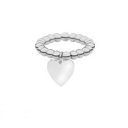 Elastyczna srebrna obrączka ze stalowych kuleczek z serduszkiem