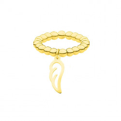 Elastyczna złota obrączka z kuleczek z piórkiem