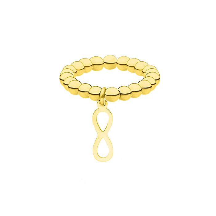 Elastyczna, złota obrączka z motywem nieskończoności