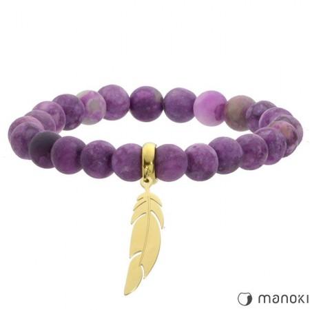 fioletowa bransoletka damska ze ze złotym piórkiem, kamienie naturalne