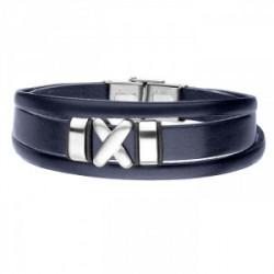 Granatowa bransoletka męska symbol X