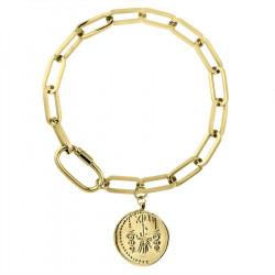 Gruby łańcuch z monetą pozłacana bransoletka ze stali szlachetnej