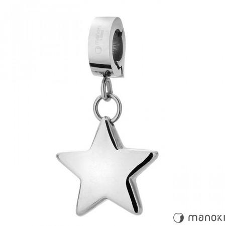 HA014 charms z gwiazdką, kolor srebrny