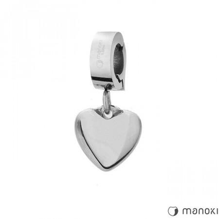 HA017 charms w kształcie serce, kolor srebrny