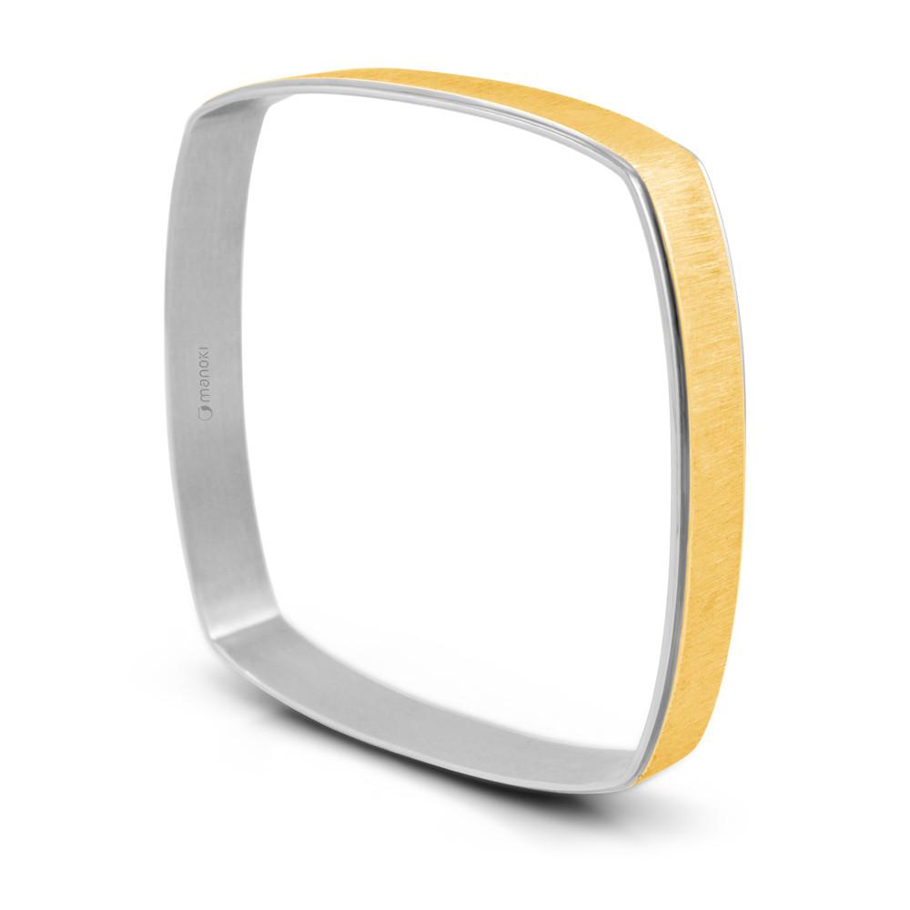 Kwadratowa bransoletka damska w kolorze złotym