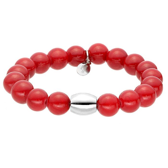 Red Queen, jadeit, czerwona bransoletka z ozdobnym elementem