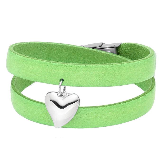 Zielona bransoletka damska ze skóry, stalowe serduszko