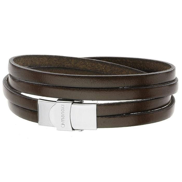 Skórzana bransoletka dla mężczyzn, ciemny brąz