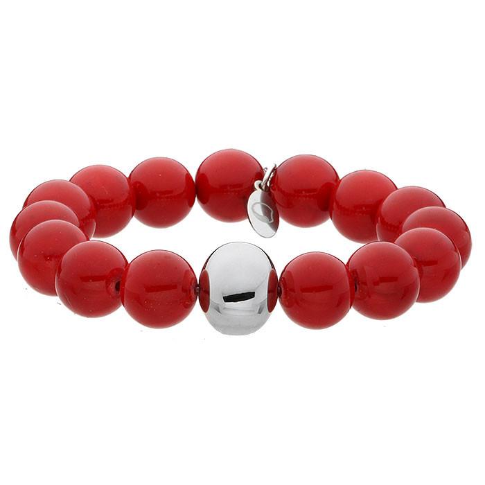 Red Queen, jadeit, czerwona bransoletka z ozdobną kuleczką