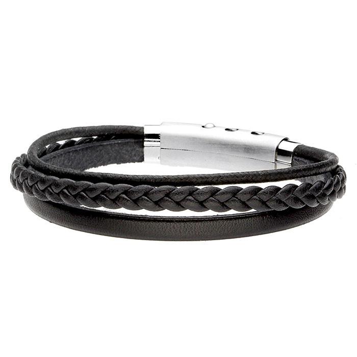 Czarna bransoletka ze skóry naturalnej i sznurka bawełnianego