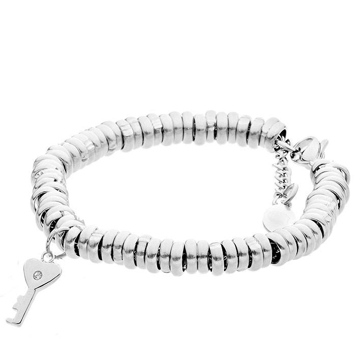 Piękna, srebrna bransoletka damska z kluczykiem