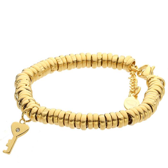 Złota bransoletka damska z kluczykiem