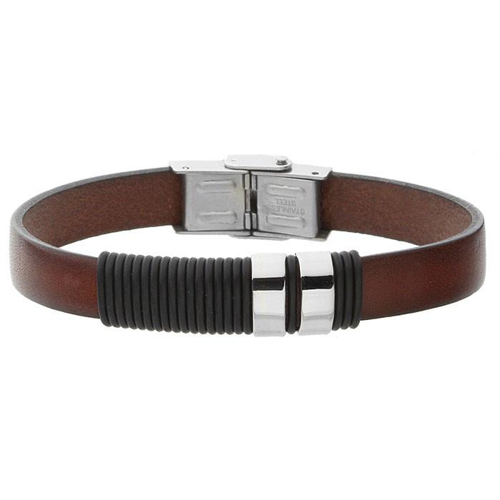 Brązowa bransoletka męska ze skóry, w stylu minimalistycznym