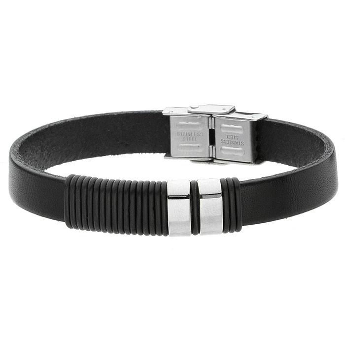 Czarna, minimalistyczna bransoletka męska ze skóry naturalnej