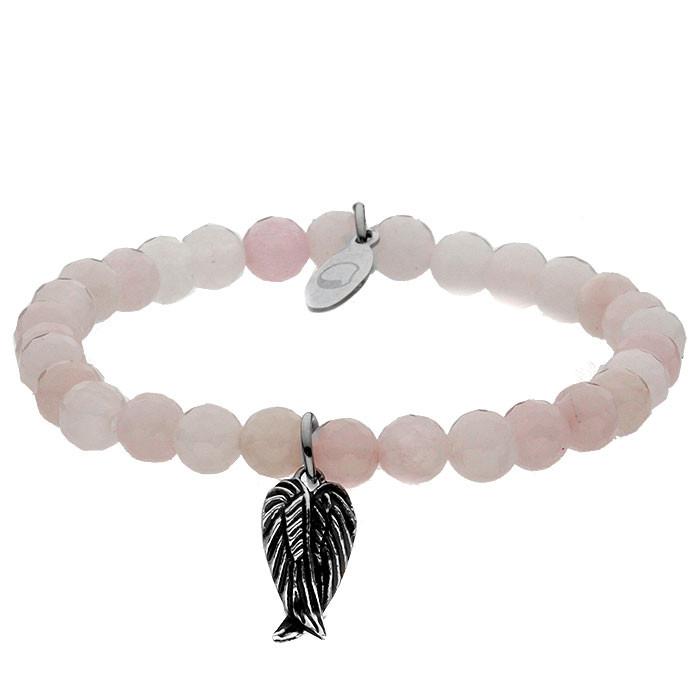 Różowa bransoletka damska z kwarcu, motyw skrzydła