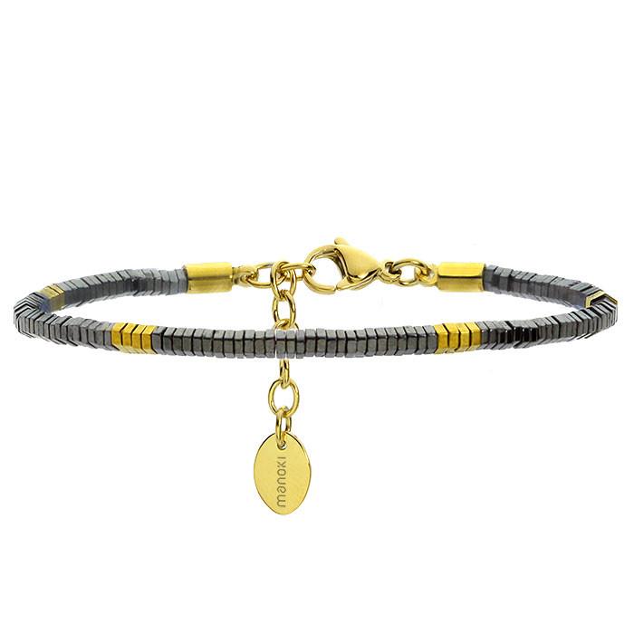 Szaro-złota bransoletka damska z kamieni naturalnych