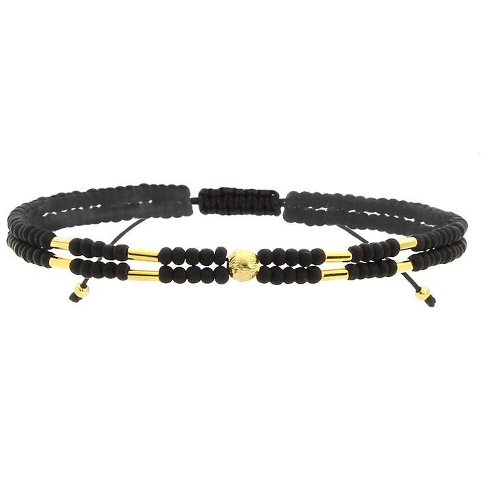 Czarna bransoletka damska z kamieni naturalnych, złote ozdoby