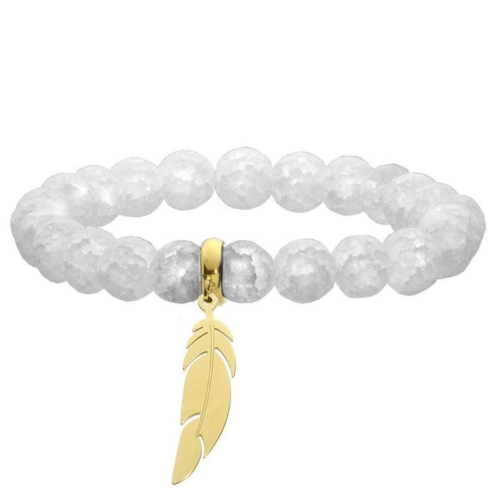 Biała bransoletka damska z kwarcu, złote piórko