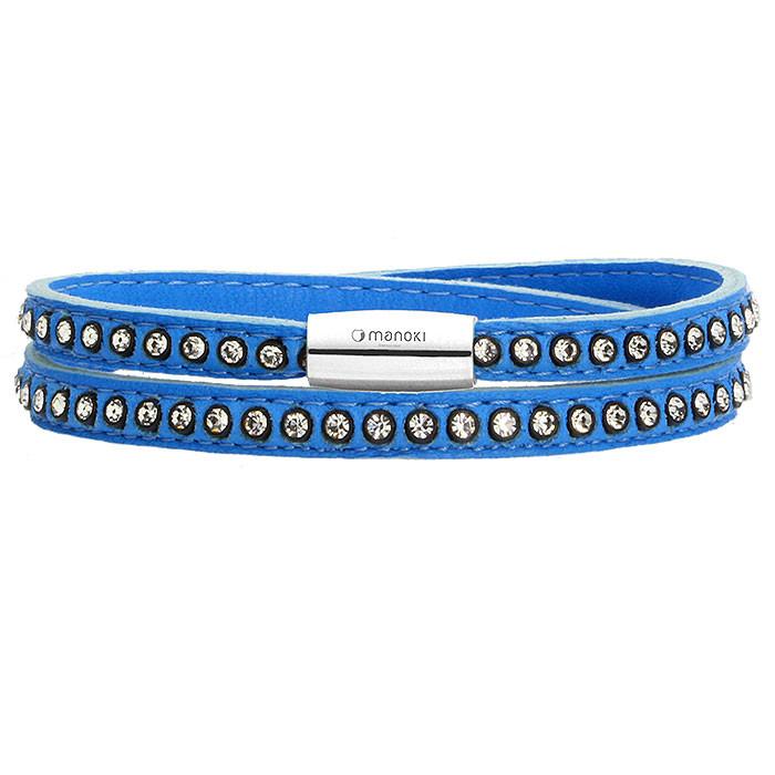 Damska bransoletka ze skóry z kryształami Swarovskiego, niebieska