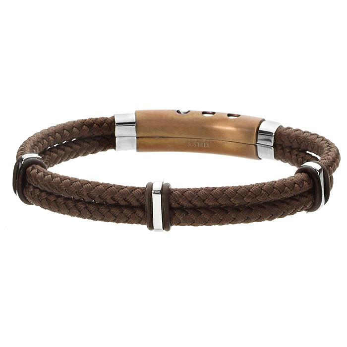 Brązowa bransoletka męska z bawełnianego sznurka