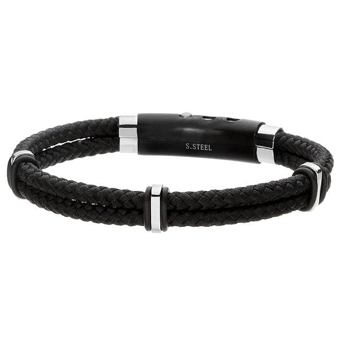 Czarna bransoletka męska z plecionego, czarnego sznurka