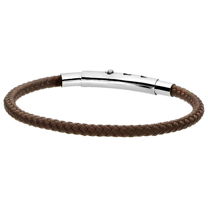 Brązowa bransoletka męska ze sznurka bawełnianego, regulowana długość