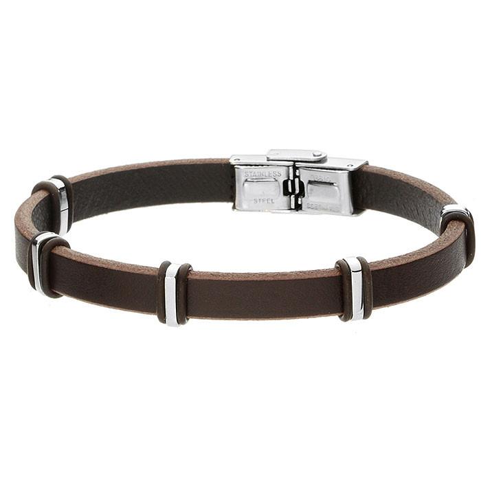 Brązowa bransoletka męska ze skóry, stalowe ozdoby minimalistyczne