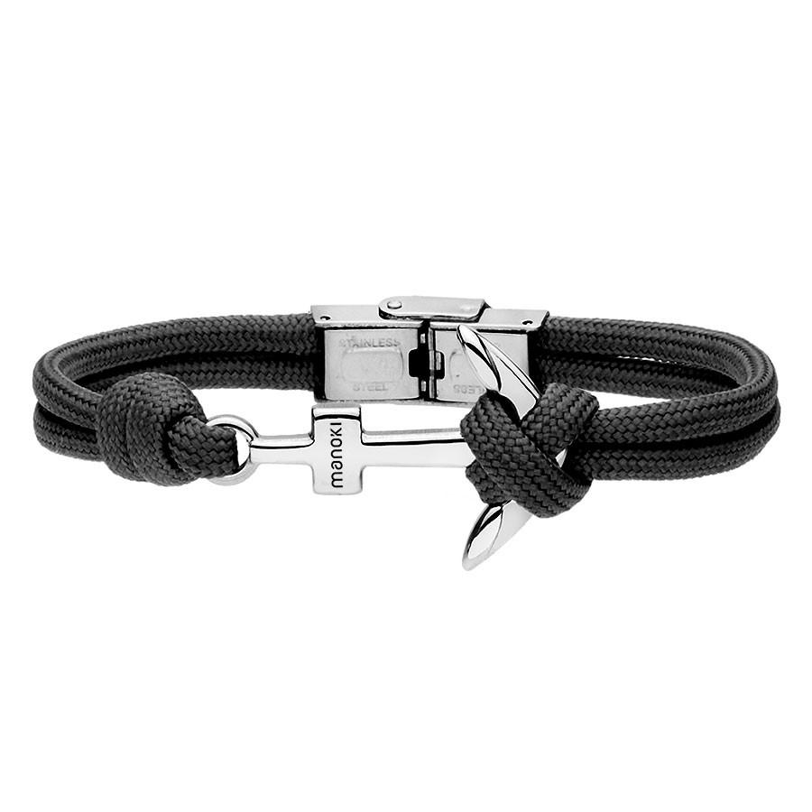Czarna, minimalistyczna bransoletka męska z kotwicą