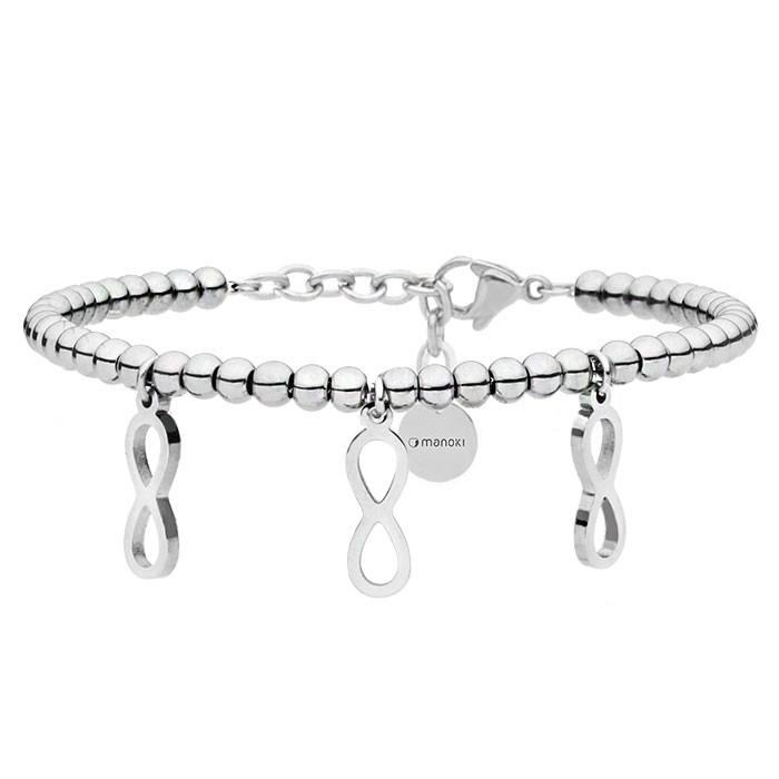 Srebrna bransoletka damska z symbolem nieskończoności
