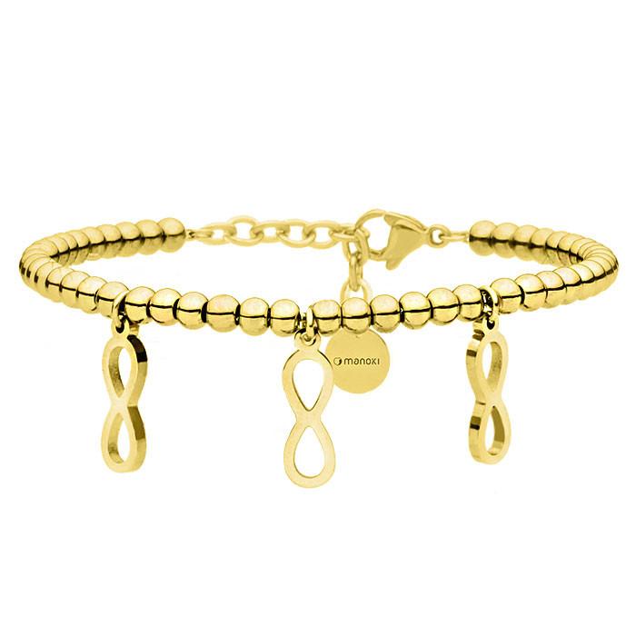 Złota bransoletka damska z symbolem nieskończoności