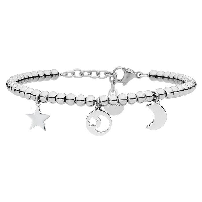Srebrna bransoletka z motywem księżyca i gwiazd