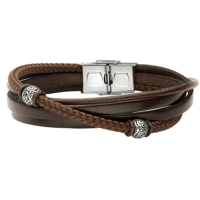 Brązowa skórzana bransoletka z bawełnianym sznurkiem z beadsami