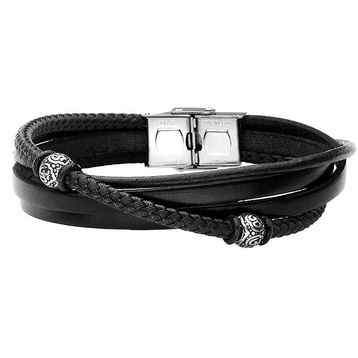 Czarna skórzana bransoletka z bawełnianym sznurkiem z beadsami