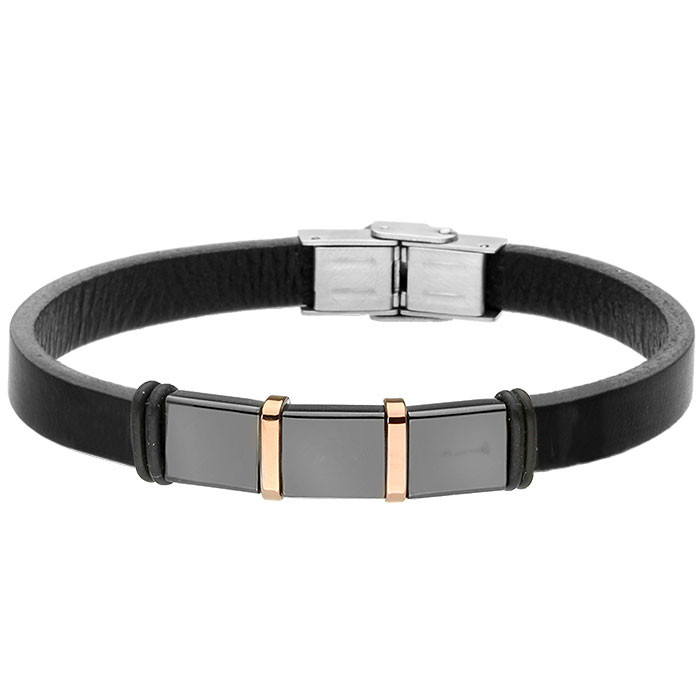 Skórzana bransoletka męska czarna ze stalowymi ozdobami