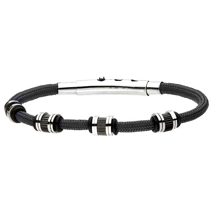 Czarna, sznurkowa bransoletka męska, beadsy