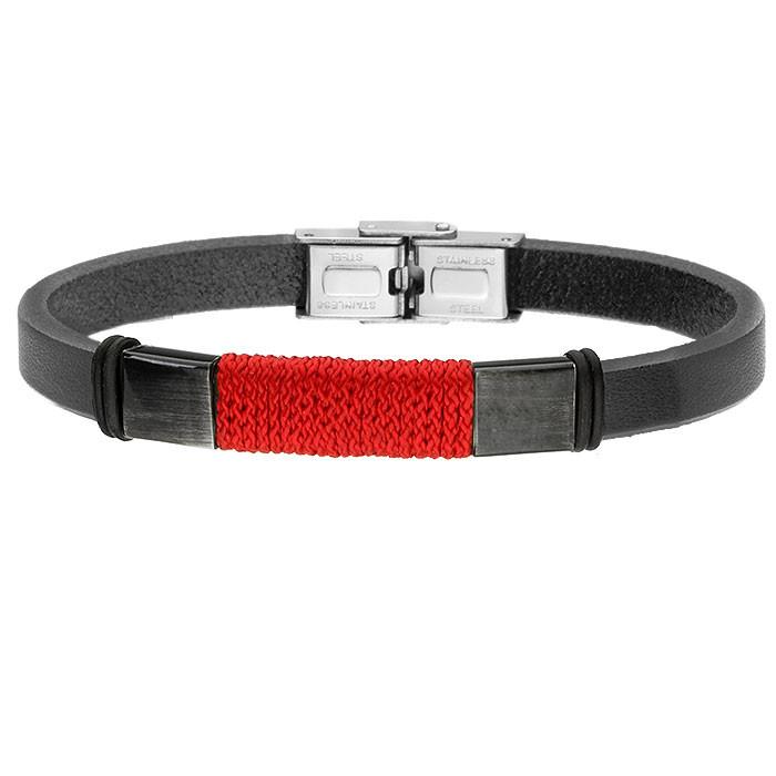 Czarna bransoletka męska skórzana z czerwonym sznurkiem